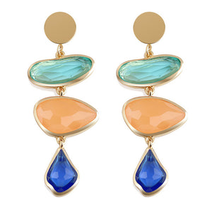 Multi-Colored Dangle Earrings-The fashionabler