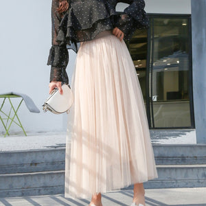 Elastic Waist Tulle Skirt-The fashionabler