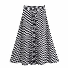Houndstooth Midi Skirt-The fashionabler