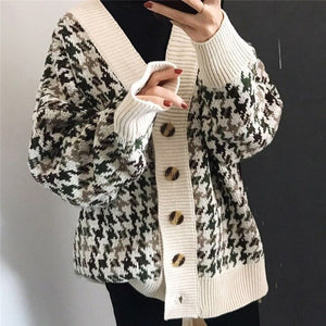 Oversized Houndstooth Cardigan-The fashionabler