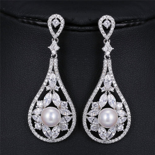 Heirloom Rhinestone & Pearl Drop Earrings-The fashionabler