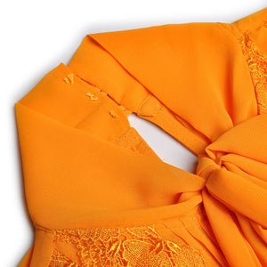 Orange Chiffon & Lace Midi Dress-The fashionabler