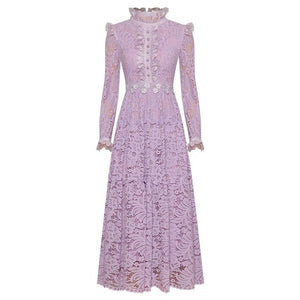 Lavender Lace Midi Dress-The fashionabler