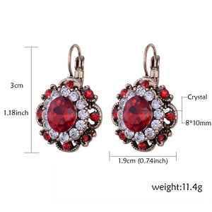 Antique Crystal Flower Earrings-The fashionabler