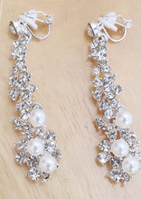Clip On Rhinestone/Pearl Pendant Earrings-The fashionabler