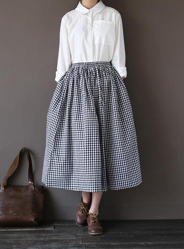 Gingham Check Gathered Skirt-The fashionabler