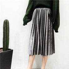 Elastic Waist Pleated Velvet Skirt-The fashionabler