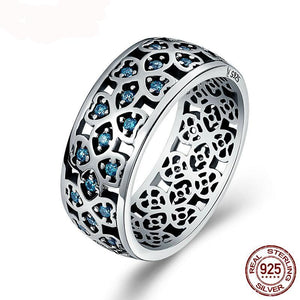 Sterling Silver Clover Ring with Blue Stones-The fashionabler