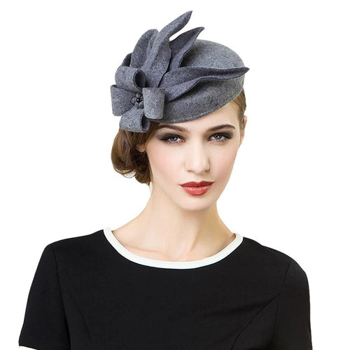 Gray Felt Fascinator-The fashionabler