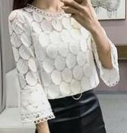 Lace Blouse with Flared Sleeves-The fashionabler