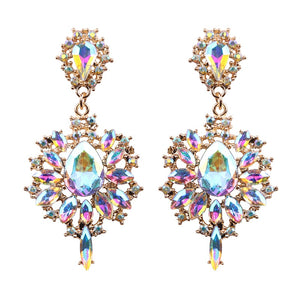 Rhinestone Drop Statement Earrings-The fashionabler