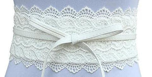 Faux Leather and Lace Cummerbund-The fashionabler