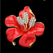 Enamel & Rhinestone Flower Brooch-The fashionabler