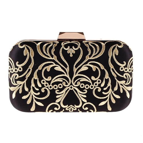 Gold Embroidered Satin Clutch-The fashionabler
