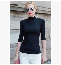 Mock Turtleneck with Elbow-length Sleeves-The fashionabler
