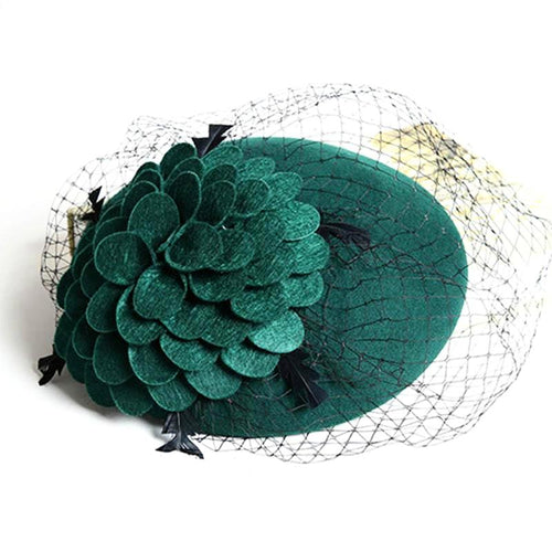 Wool Felt Veiled Hat-The fashionabler