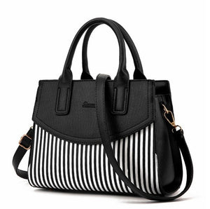 Faux Leather Striped Handbag-The fashionabler