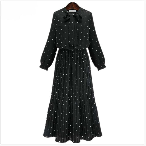 Polka Dot Dress with Bow Collar-The fashionabler