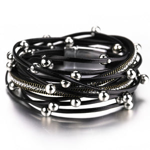 Leather & Bead Bracelet-The fashionabler