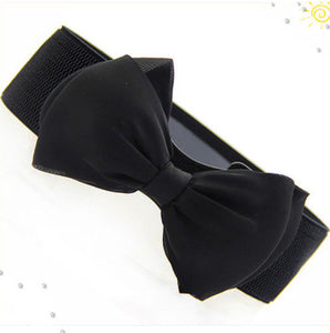 Satin Bow Elastic Belt-The fashionabler