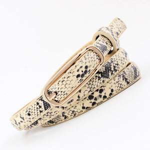 Narrow Faux Snake Leather Belt-The fashionabler