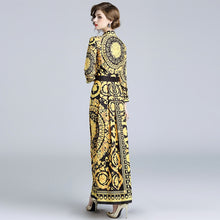 Baroque Print Evening Dress-The fashionabler
