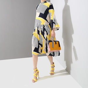 Geometric Print Dress-The fashionabler