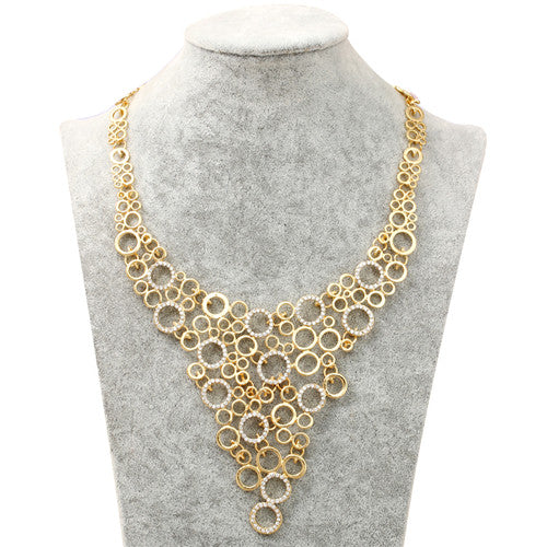 Metal & Rhinestone Circles Bib Necklace-The fashionabler