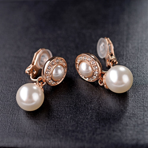 Clip-On Pearl & Rhinestone Earrings-The fashionabler