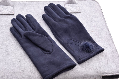 Suede Gloves with Fur Trim-The fashionabler