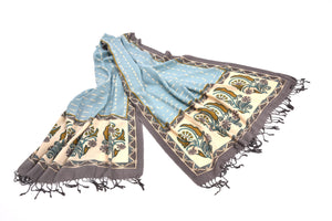 Light Blue Print Shawl-The fashionabler