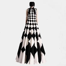 Sleeveless Harlequin Evening Gown - Wide Size Range-The fashionabler