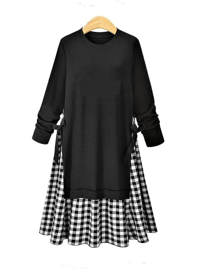 Gingham Check Sweatshirt Dress - Plus Size-The fashionabler
