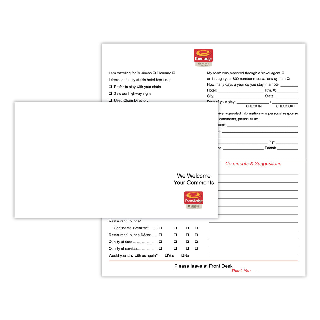 Econo Lodge Comment Card