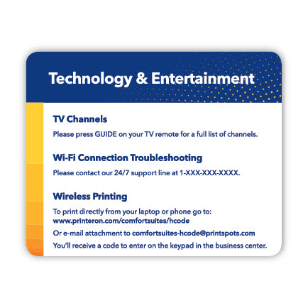 Comfort Suites Tech Card- Small