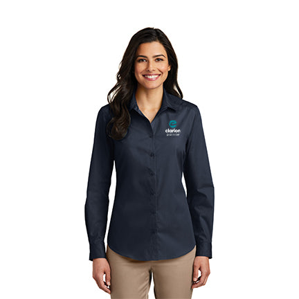 Women's Long Sleeve Carefree Poplin Shirt - Clarion Pointe