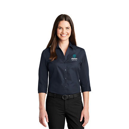 Women's ¾ -Sleeve Carefree Poplin Shirt - Clarion Pointe