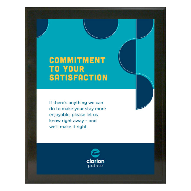 Clarion Pointe Guest Satisfaction Plaque