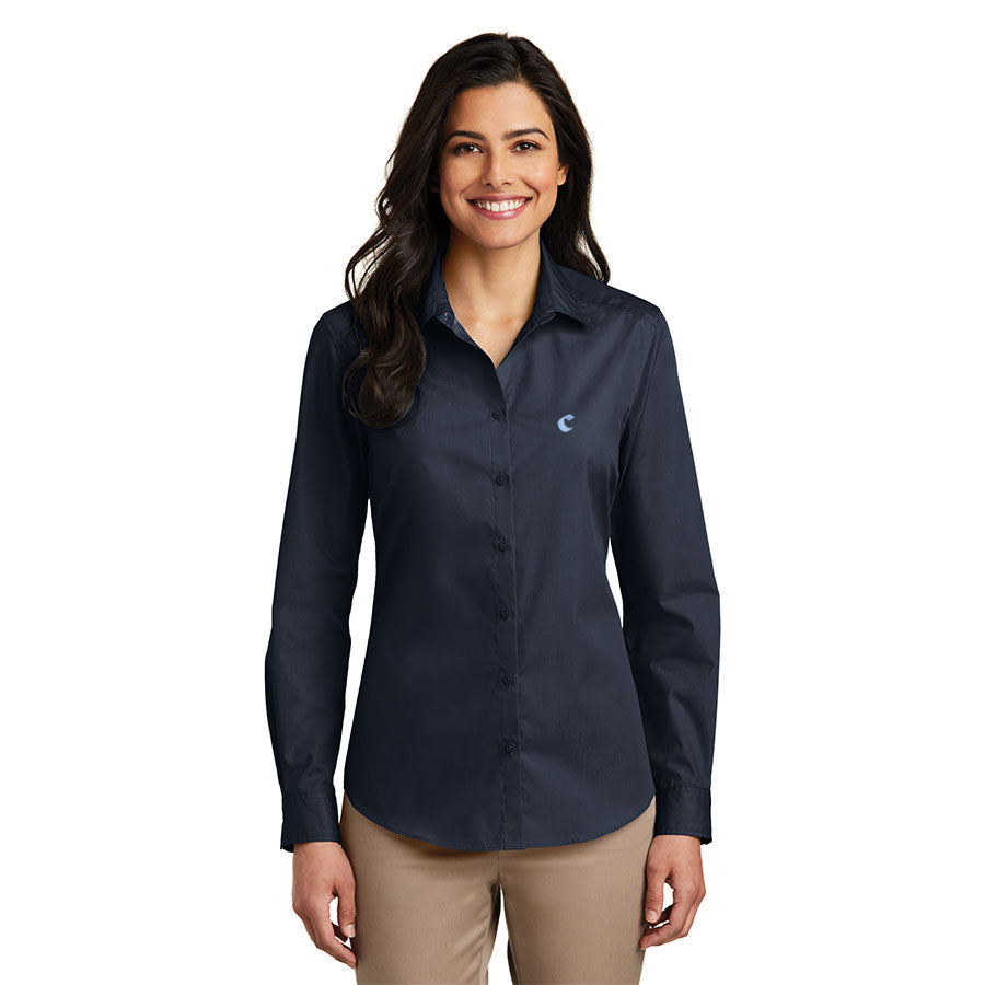 Women's Long Sleeve Carefree Poplin Shirt - Comfort Inn