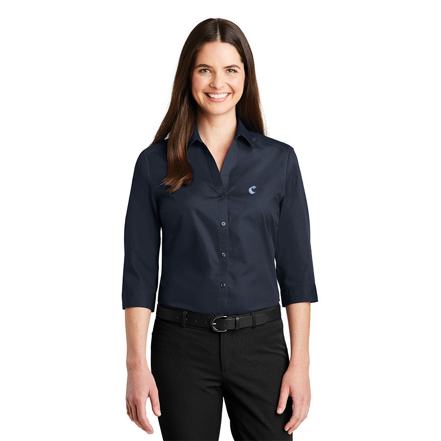 Women's 3/4-Sleeve Carefree Poplin Shirt - Comfort Inn