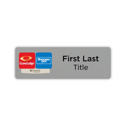 "3"" x 1"" Name Badge - Dual Property - Econo Lodge + Rodeway."