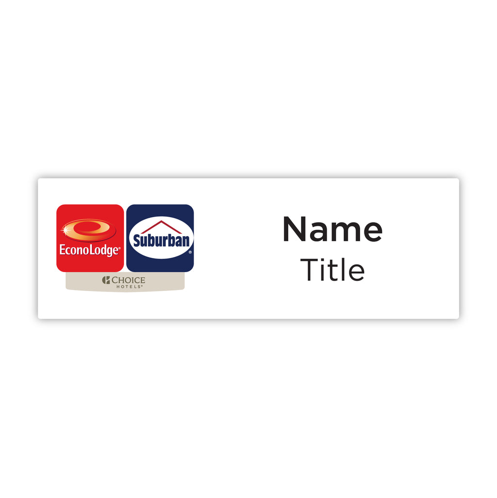 "Econo Lodge Suburban Dual-Property 3"" x 1"" Name Badge"
