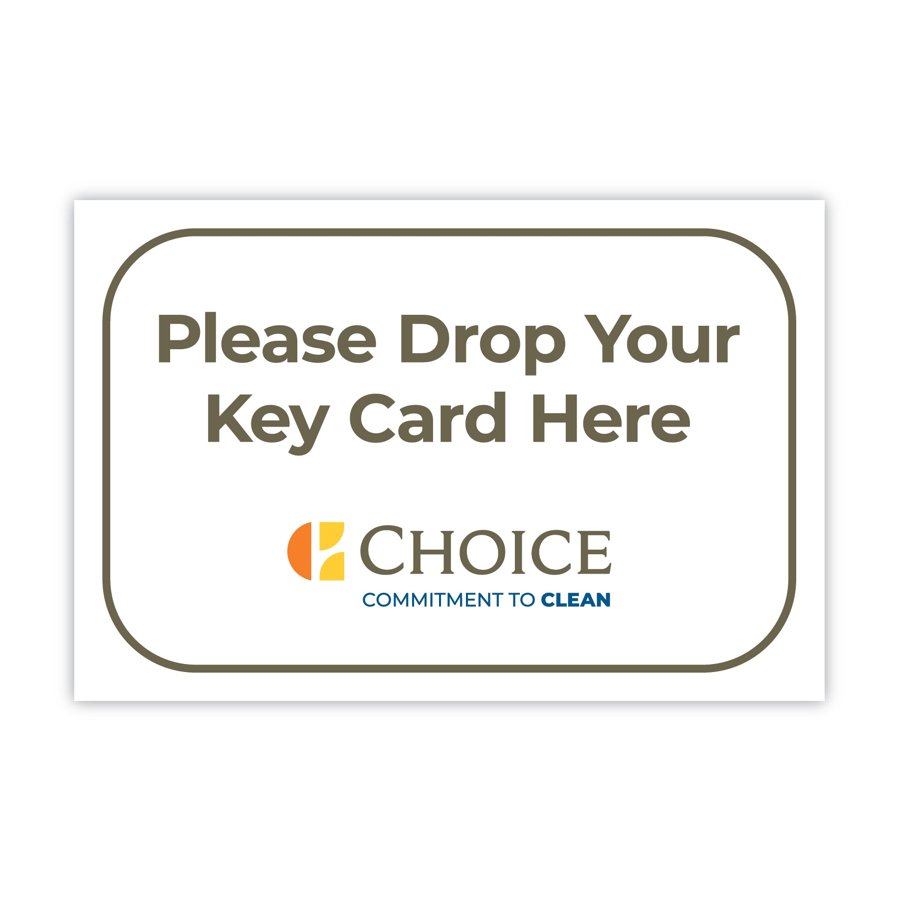 Key Card Drop Box Sign