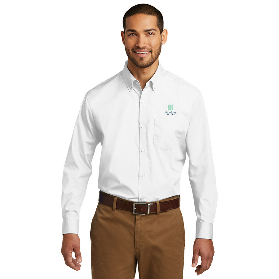 Men's Long Sleeve Carefree Poplin Shirt - MainStay
