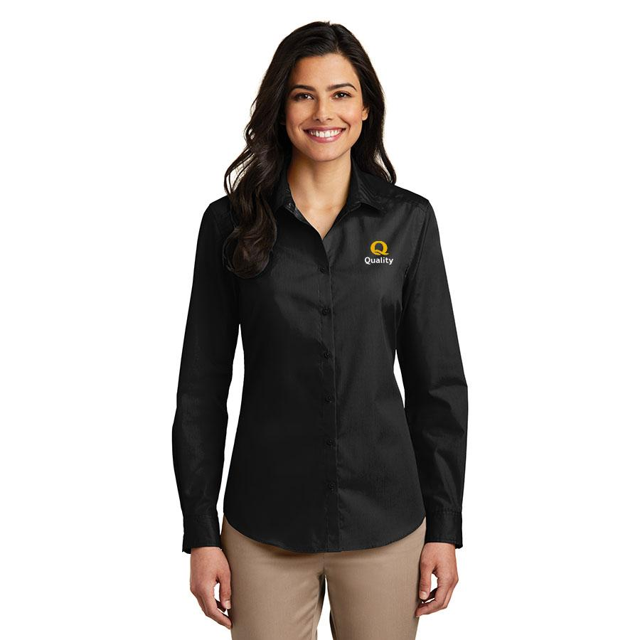 Women's Long Sleeve Carefree Poplin Shirt - Quality