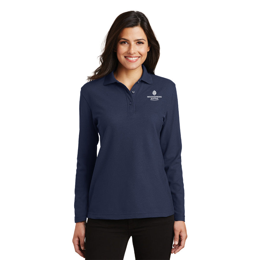 Women's Long Sleeve Silk Touch Polo - WoodSpring Suites