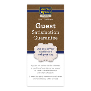 MainStay Suites Satisfaction Guarantee Card