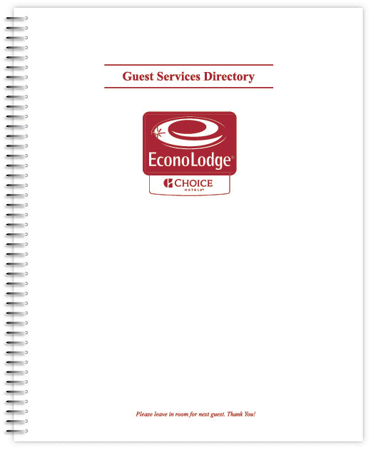 Econo Lodge Room Directory Book (Spiral Bound)