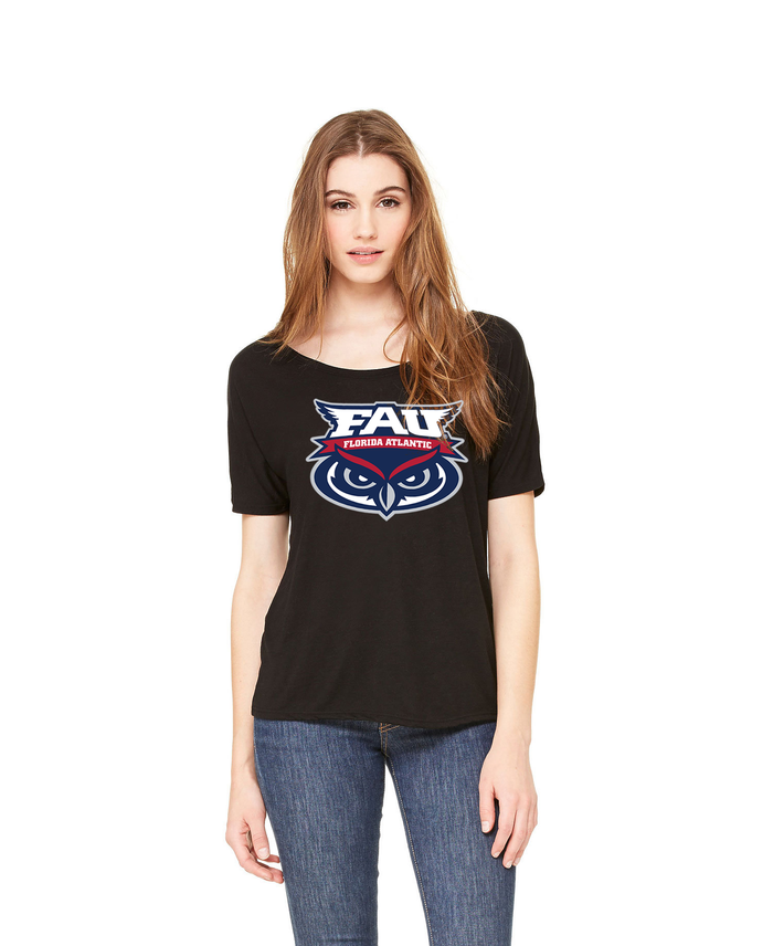 FAU Women's Loose Fit Slouchy Tee w/ FAU Florida Atlantic & Owlsley Logo