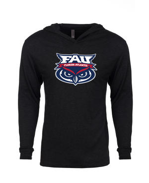 FAU Unisex Long Sleeve Hooded Tee w/ FAU Florida Atlantic & Owlsley Logo